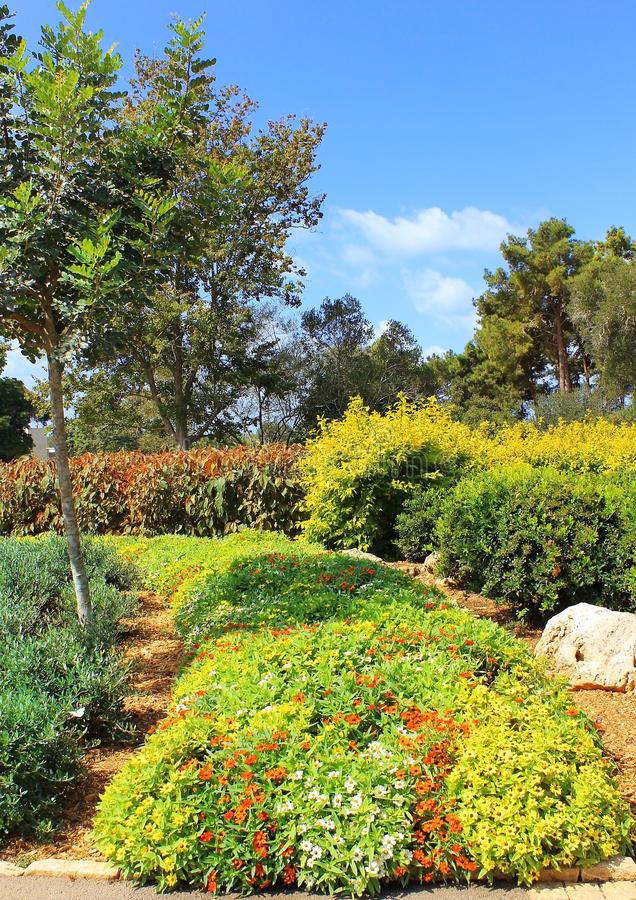 Where buried Baron Edmond de Rothschild, Israel. Picturesque area in the Park Ramat Hanadiv, Memorial Gardens where buried Baron Edmond de Rothschild, Israel royalty free stock images