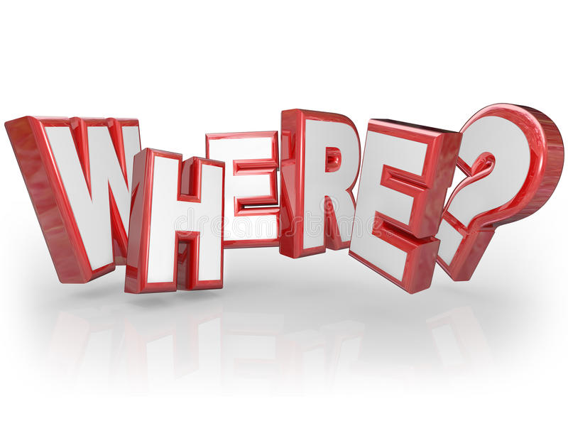 Where 3D Word Red Letters Mystery Location Question Mark vector illustration