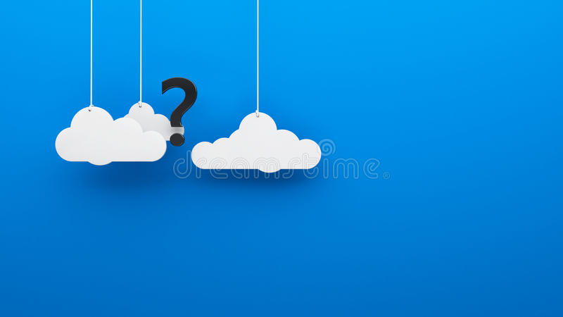 Where is the God? atheism idea. Question mark in the clouds blue heaven background stock illustration