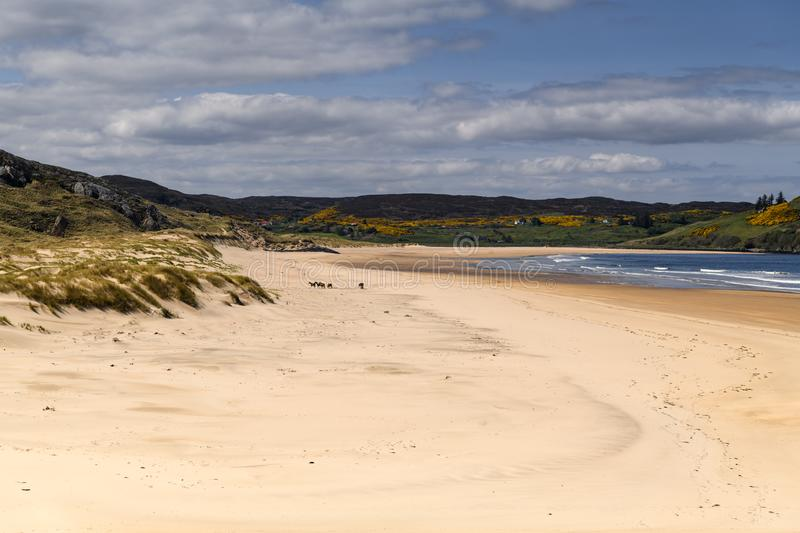 Torrisdale Beach. Where the Naver meets the sea. River Naver and Torrisdale Beach near Bettyhill in Sutherland, Scotland. 23 May 2018 stock photography