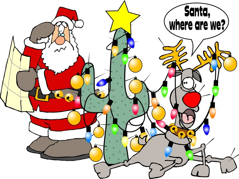 Where are we Santa? vector illustration