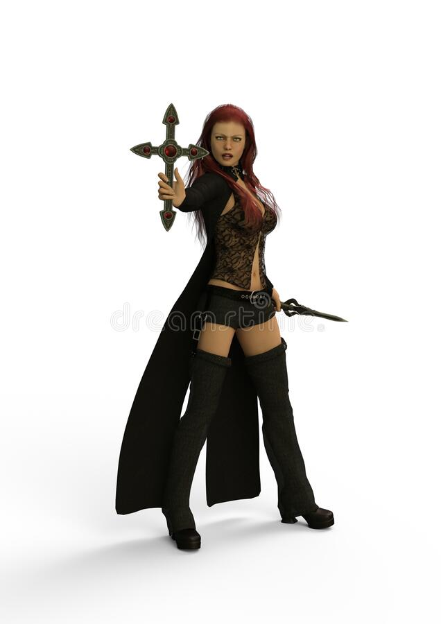 Domino the Vampire Hunter. 3D Illustration. Where there is a vampire, a vampire hunter is not far either. These people who not only have to be strong in faith royalty free illustration