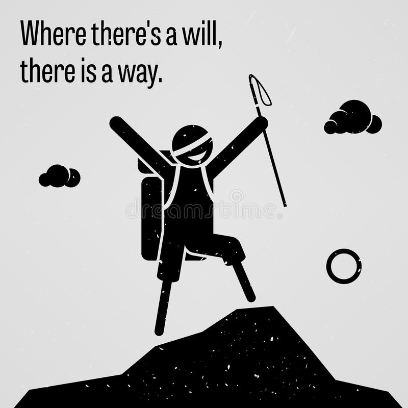 Where There is a Will, There is a Way. A motivational and inspirational poster representing the proverb sayings, Where There is a Will, There is a Way with vector illustration