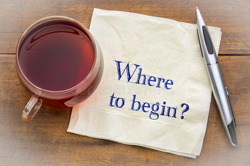 Where to begin? A question on a napkin. stock image