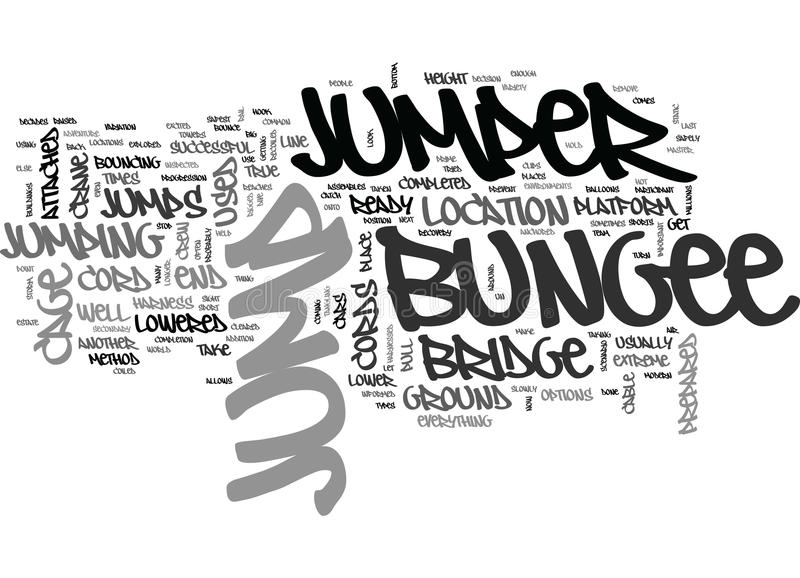 Where To Bungee Jump Word Cloud stock illustration