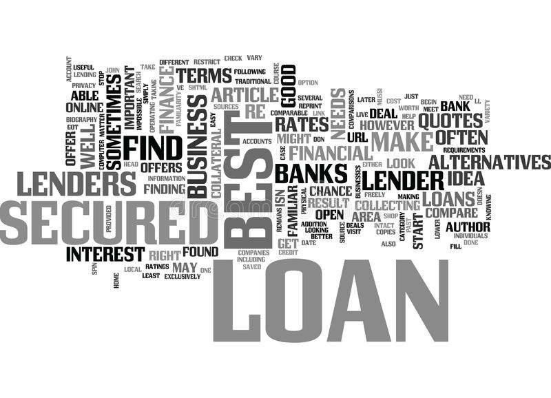 Where To Look For The Best Secured Loan Word Cloud stock illustration