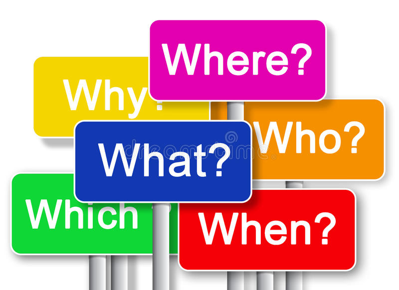 Where? What? Why? Whitch? When? Who? vector illustration