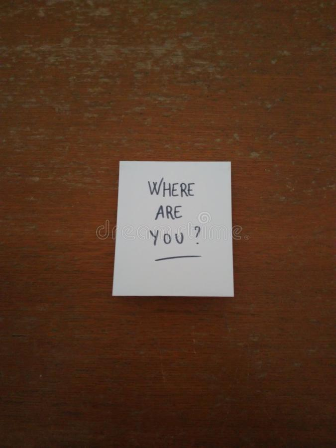 Where are you ? stock photography