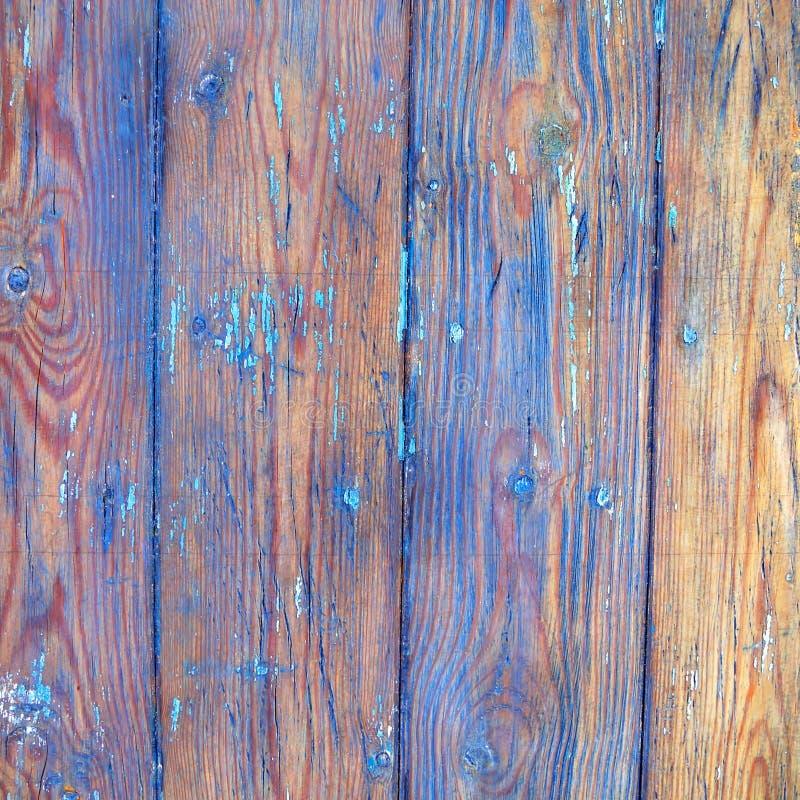 Whethered blått målad wood bakgrund arkivbilder