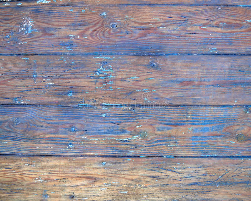 Whethered blått målad wood bakgrund arkivfoton