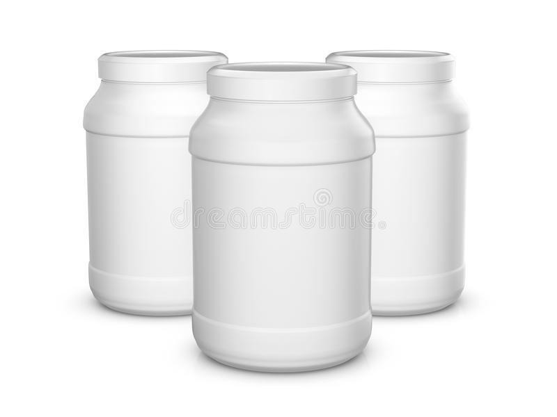 Whey protein containers stock illustration Illustration of render