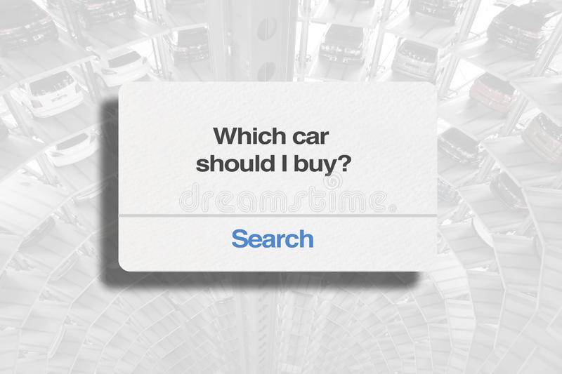 Which car should I buy?. To help you with your car buying process stock photos