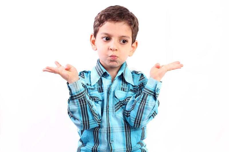 Which direction?. Confused boy thinking for which direction isolated on white stock images