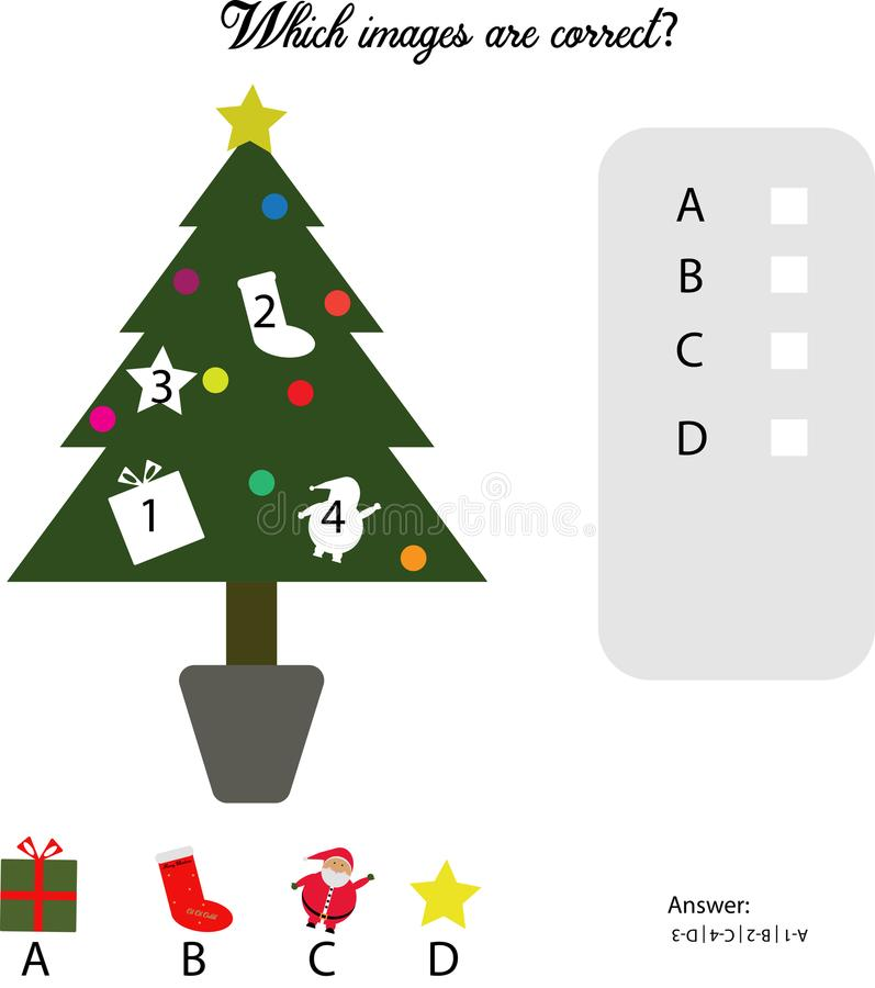 Simple game to guess the correct piece in the tree for kids stock illustration