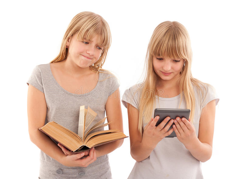 Which one - ebook or book stock photo