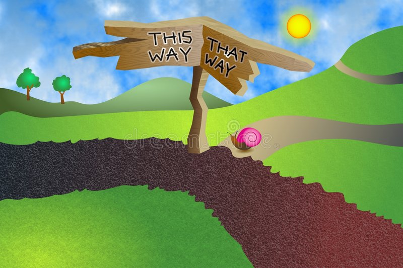 Which Way. Do you want to go - this way or that way stock illustration