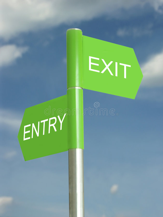 Which way out? stock illustration