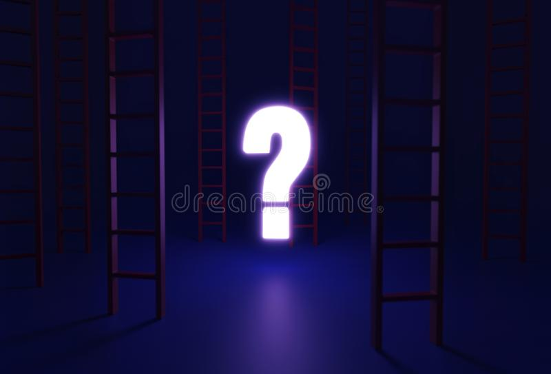 Which Way Up in the Dark. On a dark blue background, several red ladders, reaching up past the frame, are scattered around a bright, glowing question mark which stock image