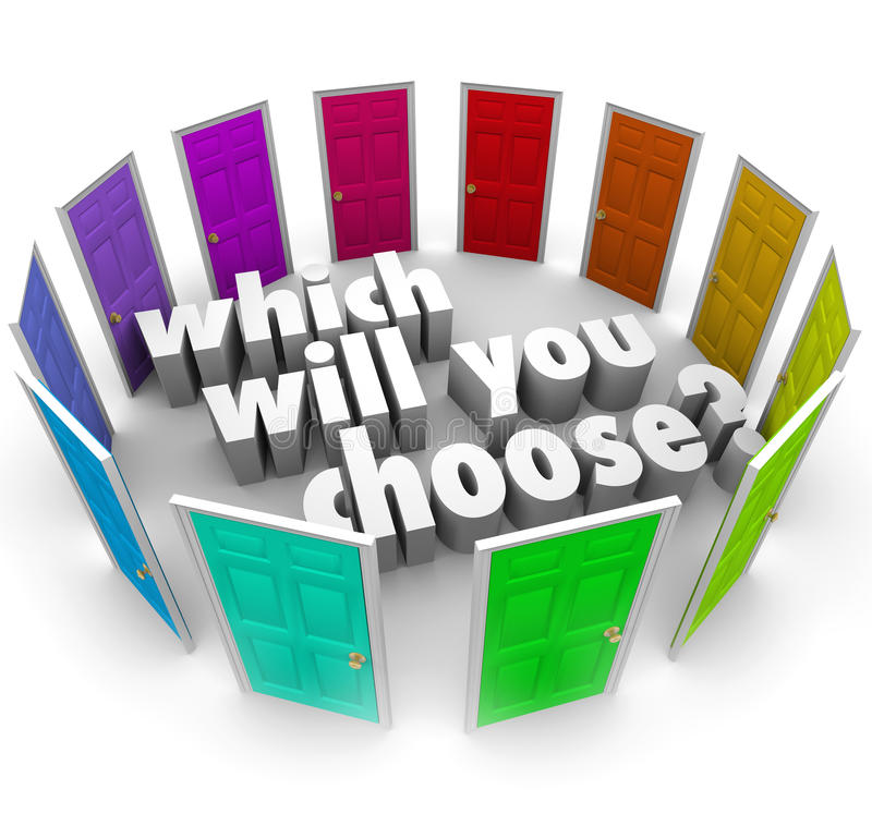 Which Will You Choose Many Doors Paths Opportunities stock illustration