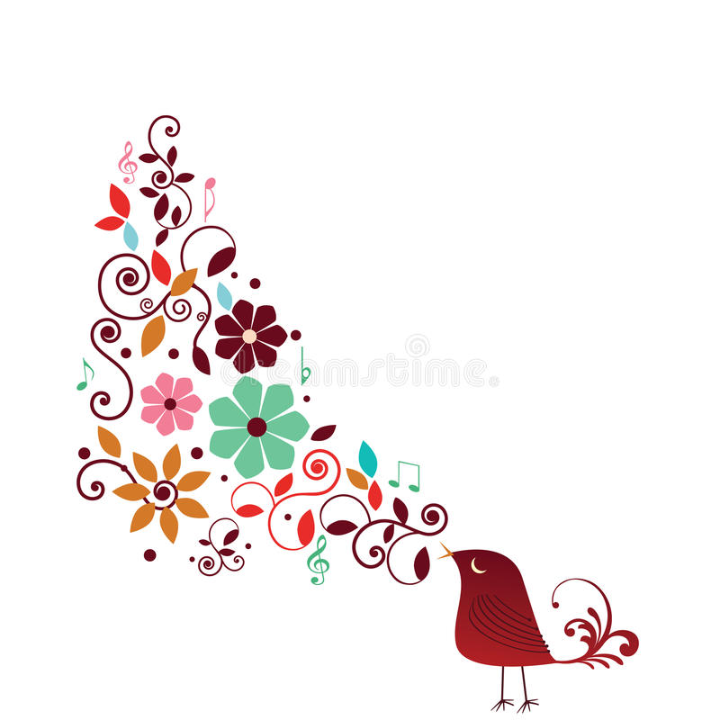 Whimisical Vogel-Gesang stock abbildung