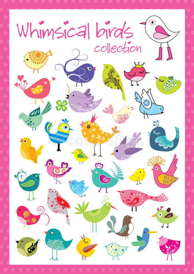 Whimsical birds collection stock illustration