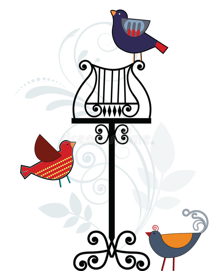 Download Whimsical Birds With Music Stand Stock Vector - Image: 19202629