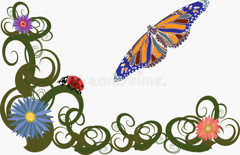 Download Whimsical Butterfly Garden stock vector. Image of blossom - 2301127