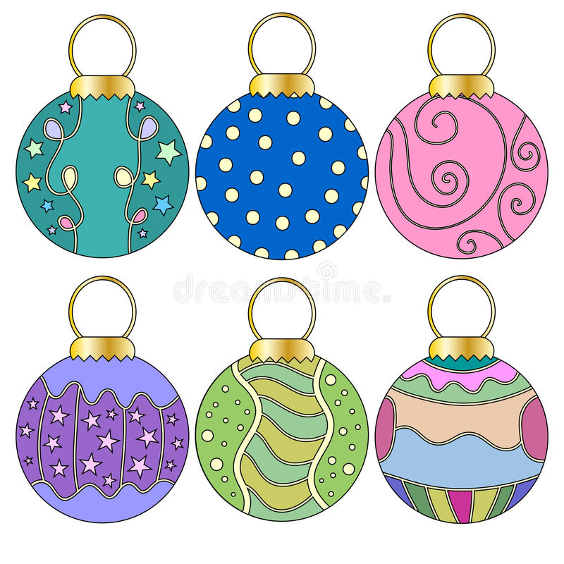 Whimsical Christmas Bauble Collection. Over white background vector illustration
