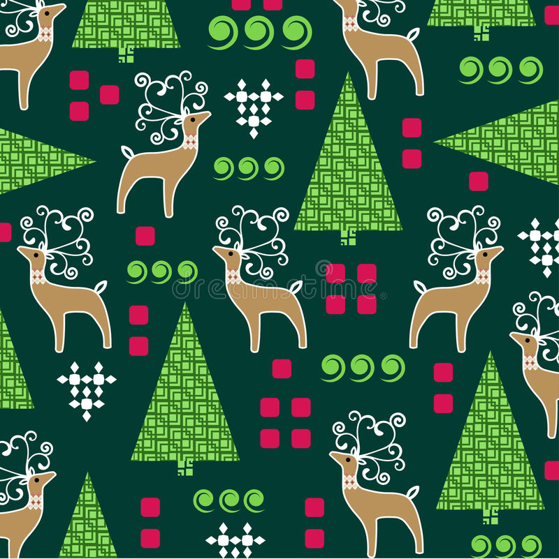 Whimsical Christmas pattern. With Reindeer and pine trees stock illustration