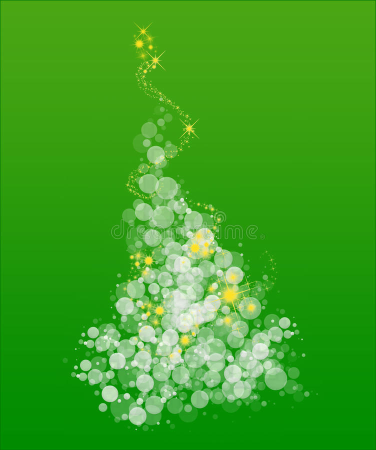 Whimsical Christmas Tree on Green. Whimsical curvy Christmas tree with starry sparkles vector illustration