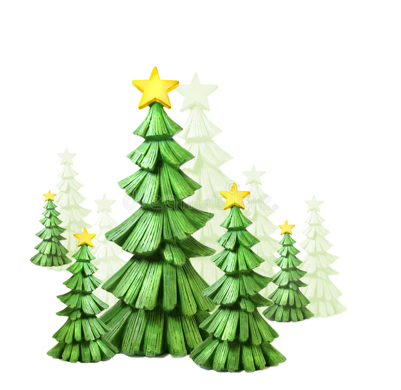 Whimsical christmas trees against a white. Background stock illustration