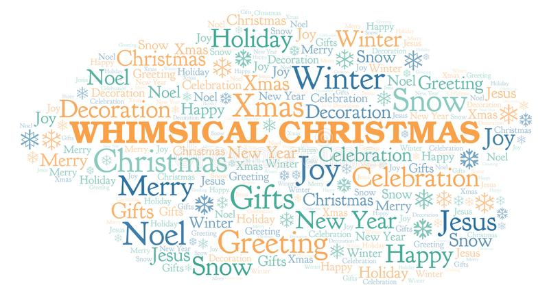 Whimsical Christmas word cloud. Wordcloud made with text only stock illustration