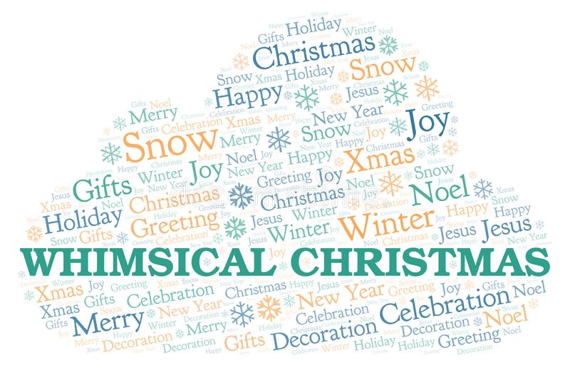 Whimsical Christmas word cloud. Wordcloud made with text only vector illustration