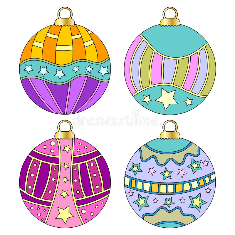 Whimsical, colorful Christmas bauble collection. Isolated over white background stock illustration