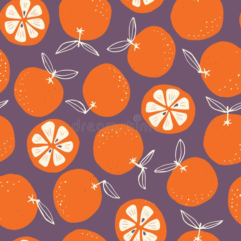 Whimsical colorful hand-drawn abstract doodle oranges vector seamless pattern on dark background. Colorful Summer Fruits Graphic Print Perfect for Kids royalty free illustration