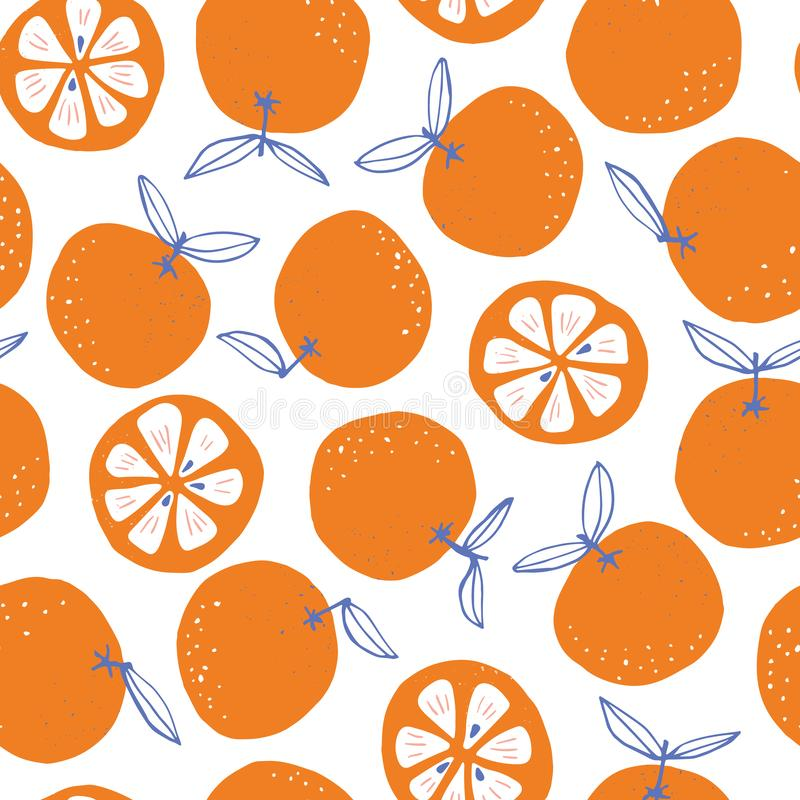 Whimsical colorful hand-drawn abstract doodle oranges vector seamless pattern on white background. Summer Fruits. Whimsical colorful hand-drawn abstract doodle royalty free illustration