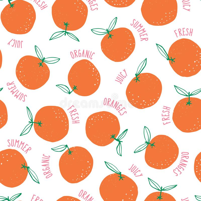 Whimsical colorful hand-drawn doodle oranges and words vector seamless pattern background. Colorful Summer Fruits. Graphic Print Perfect for Kids, Kitchen vector illustration