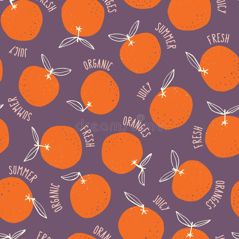 Whimsical colorful hand-drawn doodle oranges and words vector seamless pattern on dark background. Summer Fruits. Whimsical colorful hand-drawn doodle oranges royalty free illustration
