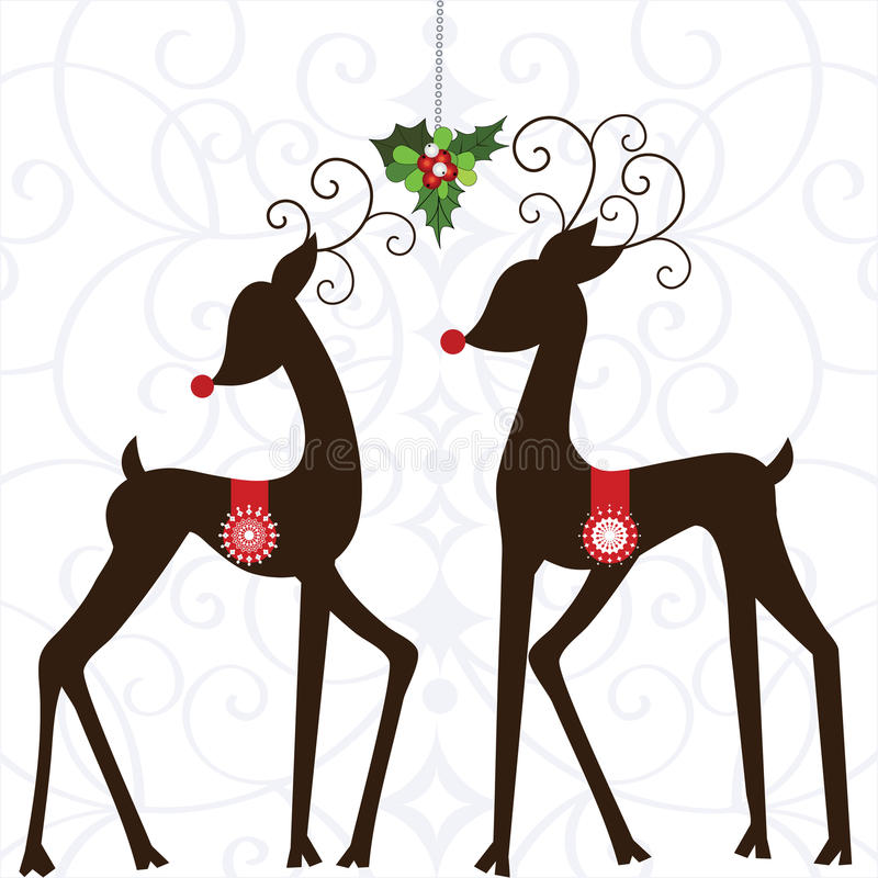 Whimsical Deer with Mistletoe. And holly - ornate one piece pattern behind (2 different snowflakes on saddles stock illustration