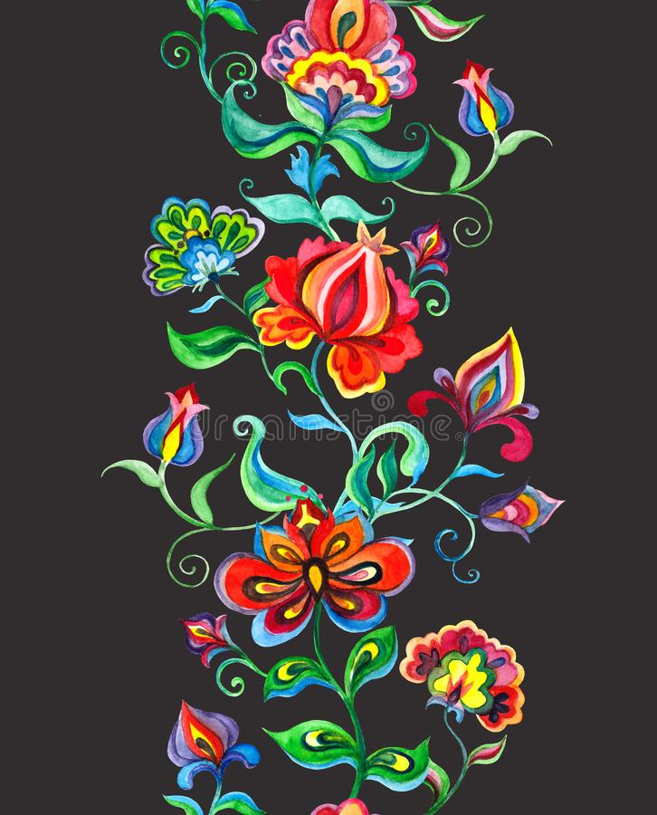 Whimsical floral ornament - seamless border with slavic stylized flowers. Watercolor stock illustration