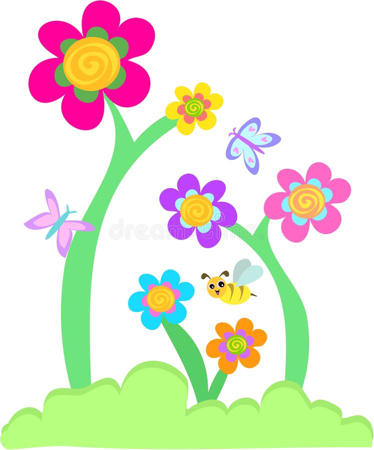 Whimsical Flower Garden with Butterflies and Bee stock illustration