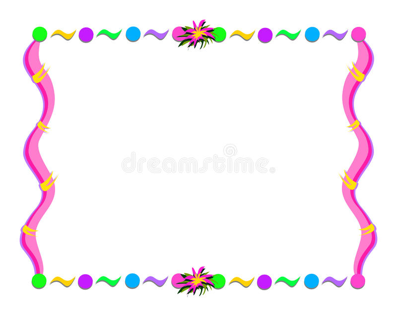 Whimsical Frame With Shapes And Flower Stock Vector - Illustration ...