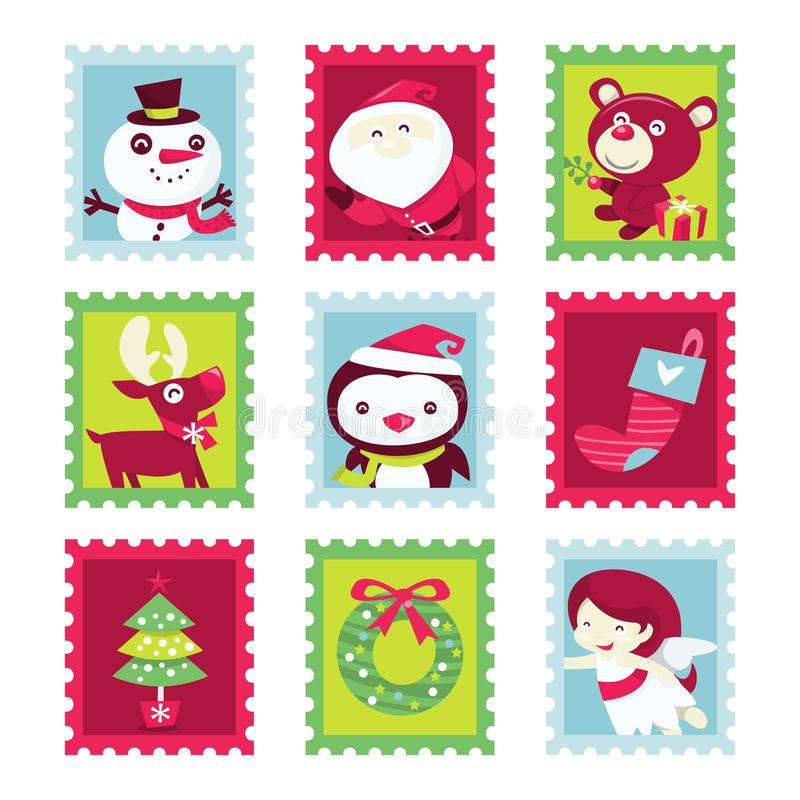 Whimsical Fun Christmas Stamps. A cartoon vector illustration of nine different whimsical fun christmas theme stamps set stock illustration