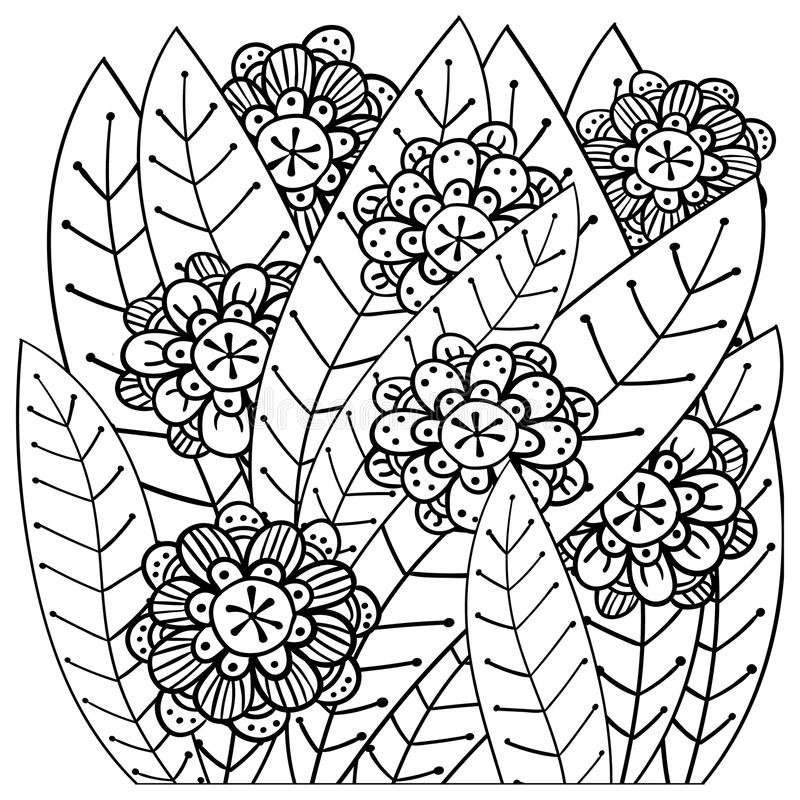 Whimsical Garden Adult Coloring Book Page Stock Vector ...
