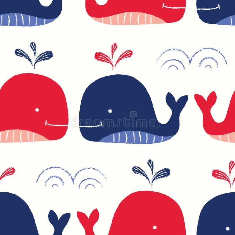 Whimsical, Hand-Drawn with Crayons, Red and Blue Whales in Sea Vector Seamless Pattern for Kids and Babies. Whimsical, Hand-Drawn with Crayons, Red and Blue vector illustration
