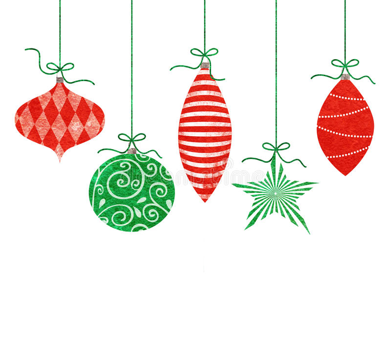 Whimsical Hanging Christmas Ornaments. Five cute retro Christmas ornaments hanging by green string royalty free illustration