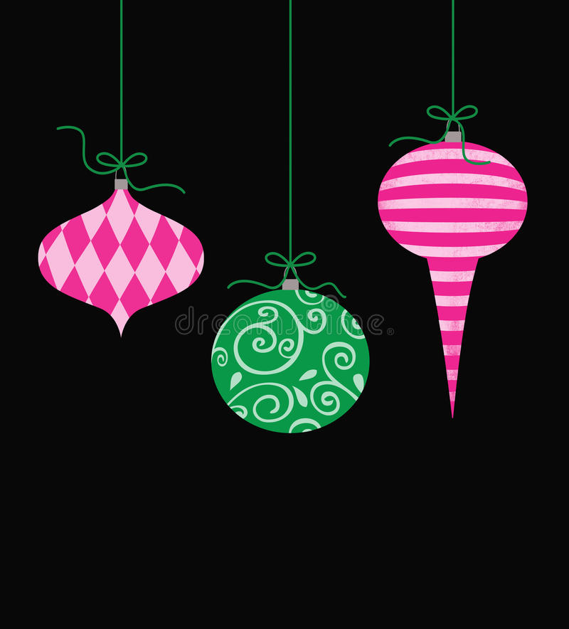 Whimsical Hanging Christmas Ornaments. Three cute retro Christmas ornaments hanging by green string royalty free illustration