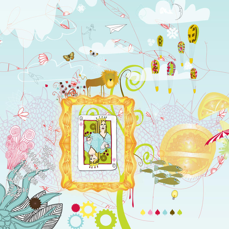 Whimsical Imaganative Sky. A blue sky filled with clouds and various other random objects. Floral stems, paper planes and butterflies also float about stock illustration