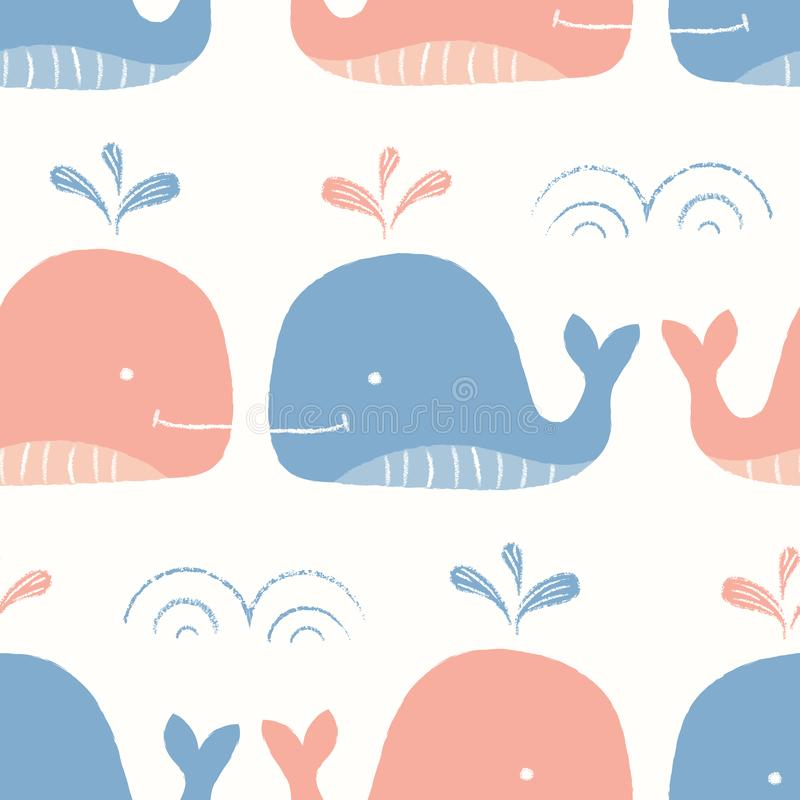 Whimsical Pastel-Colored Hand-Drawn with Crayons, Red and Blue Whales in Sea Vector Seamless Pattern for Kids and Babies. Whimsical, Pastel-Colored Hand-Drawn royalty free illustration