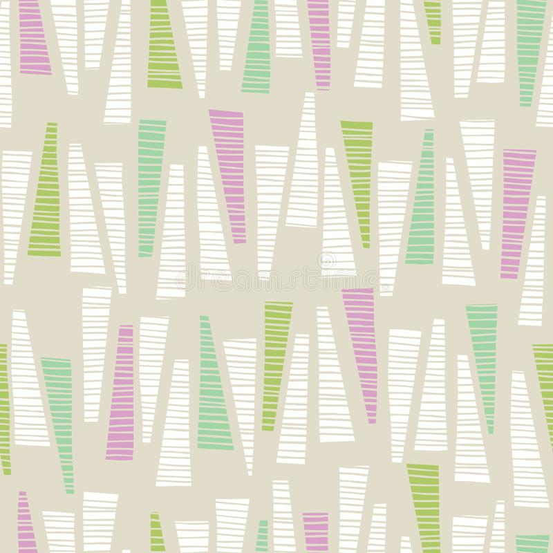 Whimsical Pastel Colored Hand-Drawn Textured Triangles Background Vector Seamless Pattern. Abstract Geometric Print vector illustration